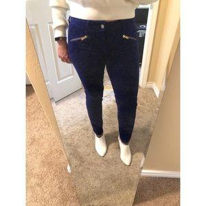 Royal Blue Velvet Skinny Pant